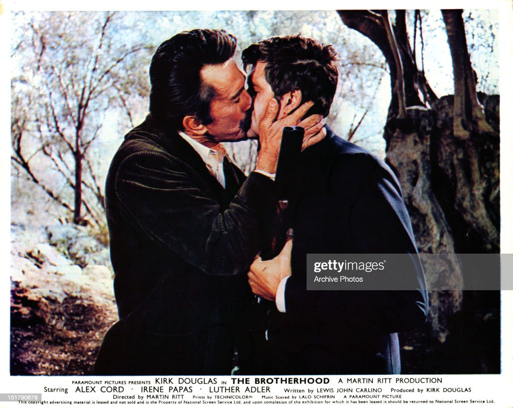 kirk-douglas-kissing-alex-cord-in-a-scen