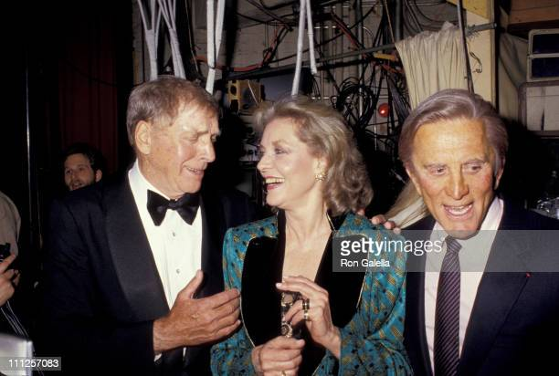 Kirk Douglas Lauren Bacall and Burt Lancaster during The American Academy of Dramatic Arts Tribute to Kirk Douglas at Waldorf Astoria Hotel in New...