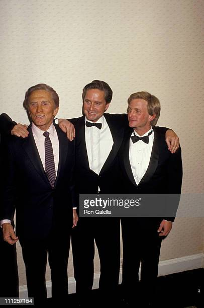 Kirk Douglas Michael Douglas and Eric Douglas during The American Academy of Dramatic Arts Tribute to Kirk Douglas at Waldorf Astoria Hotel in New...