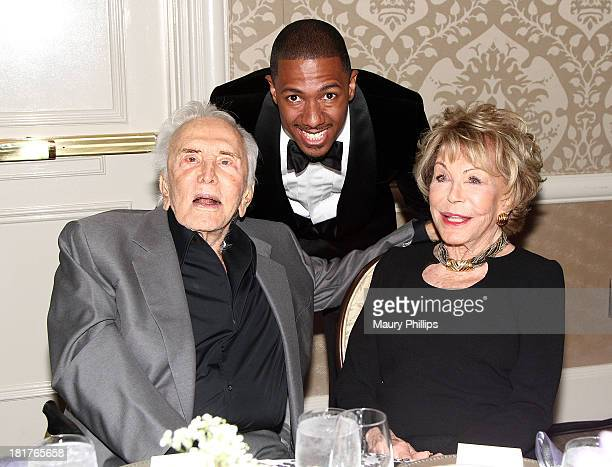 Kirk Douglas Nick Cannon and Anne Douglas attend The Los Angeles Mission and Anne Douglas Center for Women Gala at Four Seasons Hotel Los Angeles at...