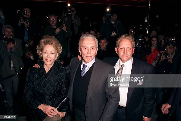 Kirk Douglas with wife Anne his son Eric Douglas arrive at the 'Russian Tea Room' for the wedding rehearsal dinner in New York City