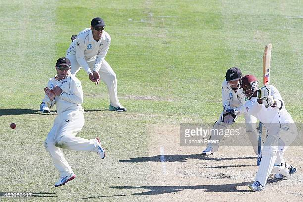 Kirk Edwards of the West Indies pulls the ball away for four runs during day three of the first test match between New Zealand and the West Indies at...