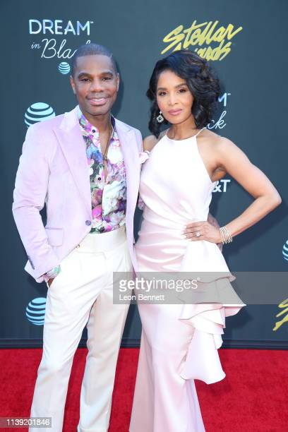 Kirk Franklin and his wife Tammy Collins attend the 34th annual Stellar Gospel Music Awards at the Orleans Arena on March 29 2019 in Las Vegas Nevada