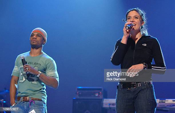 Kirk Franklin and Rebecca St James during 37th Annual GMA Music Awards Rehearsals at Grand Ole Opry in Nashville TN United States