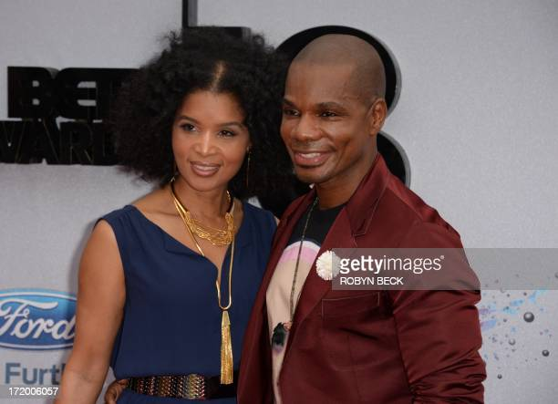 Kirk Franklin and wife Tammy Franklin arrive for the 2013 BET Awards at the Nokia Theatre LA Live in Los Angeles California June 30 2013 The awards...