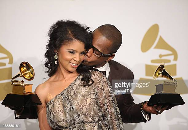 Kirk Franklin and wife Tammy Franklin attend the 54th Annual GRAMMY Awards press room held at Staples Center on February 12 2012 in Los Angeles...