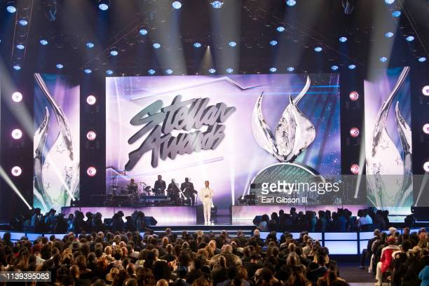 Kirk Franklin speaks during the 34th annual Stellar Gospel Music Awards at the Orleans Arena on March 29 2019 in Las Vegas Nevada