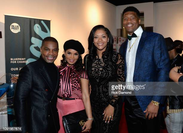 Kirk Franklin Tammy Franklin Breion Allen and Jameis Winston attend the 2019 Super Bowl Gospel Celebration at Atlanta Symphony Hall on January 31...