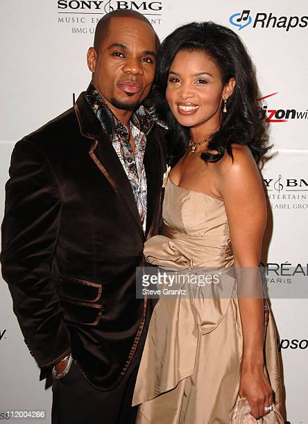 Kirk Franklin with wife Tammy during 2007 Clive Davis PreGRAMMY Awards Party Arrivals at Beverly Hills Hilton in Beverly Hills California United...