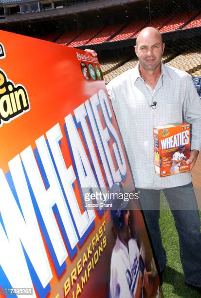 Kirk Gibson during Wheaties Unveils New Cereal Box featuring Kirk Gibson at Dodgers Stadium in Los Angeles California United States