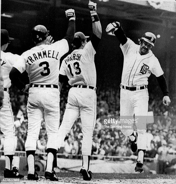 Kirk Gibson Lance Parrish and Alan Trammell of the Detroit Tigers celebrate after Gibson hit a 2run home run in the first inning of Game Five of the...