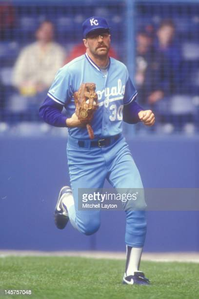 Kirk Gibson of the Kansas City Royals runs back to the dug out during a baseball game against the Detroit Tigers on May 8 1991 at Tiger Stadium in...
