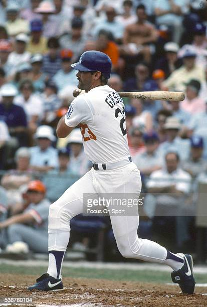 Kirk Gibson of the Los Angeles Dodgers bats during a Major League Baseball spring training game circa 1990 at Dodger Town in Vero Beach Florida...