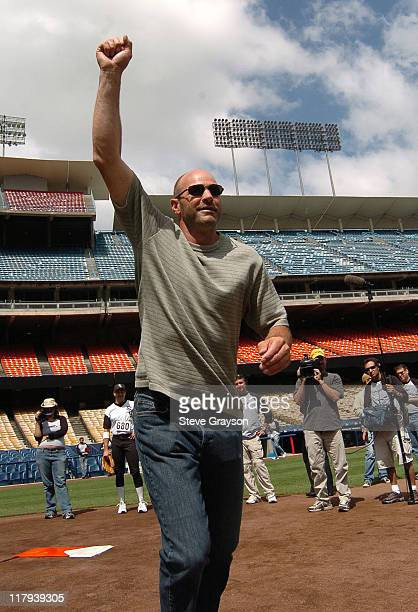 Kirk Gibson recreates his 'Fist Pump' the action after his game winning home run against the Oakland A's in the 1988 MLB Playoffs when he was a...