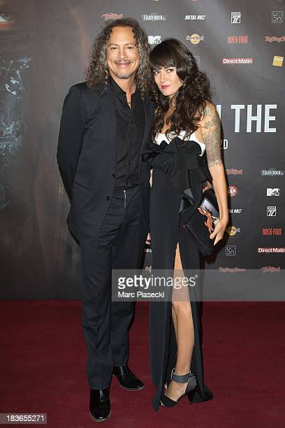 Kirk Hammet and wife Lani Hammet attend the 'Metallica Through The Never' Paris Premiere at Le Grand Rex on October 8, 2013 in Paris, France.