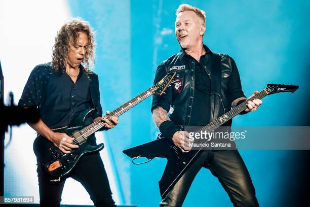 Kirk Hammett and James Hetfield members of the band Metallica performs live on stage at Autodromo de Interlagos on March 25 2017 in Sao Paulo Brazil