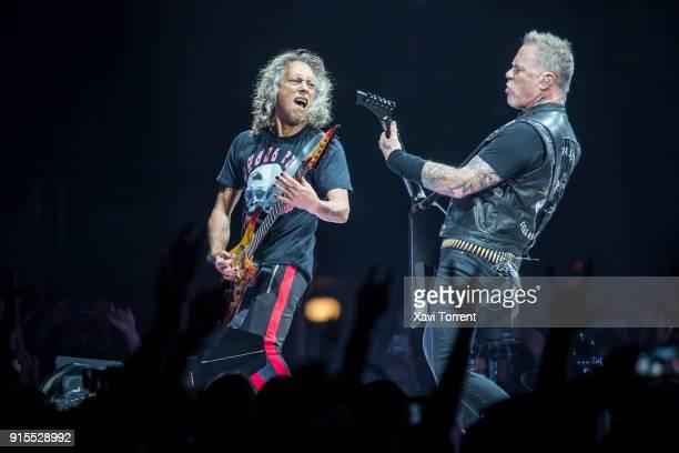 Kirk Hammett and James Hetfield of Metallica perform in concert at Palau Sant Jordi on February 7 2018 in Barcelona Spain