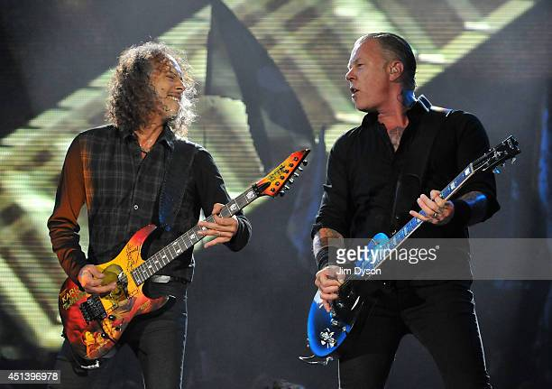 Kirk Hammett and James Hetfield of Metallica perform live on the Pyramid stage during day two of the Glastonbury Festival at Worthy Farm in Pilton on...