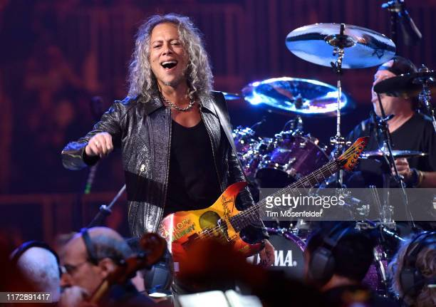 "Kirk Hammett and Lars Ulrich of Metallica perform during the ""S&M2"" concerts at the opening night at Chase Center on September 06, 2019 in San..."