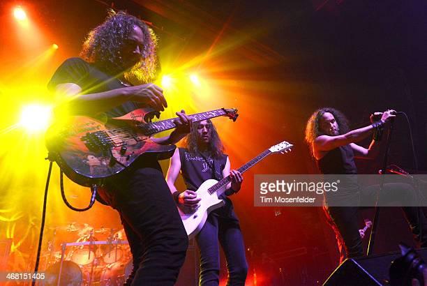 Kirk Hammett and Mark Osegueda of Death Angel perform as part of Kirk Von Hammett's Fear FestEvil at Grand Regency Ballroom on February 8 2014 in San...