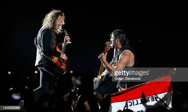 Kirk Hammett and Robert Trujillo of Metallica perform during their 20th anniversary tour of the Black Album at Usce Park on May 8 2012 in Belgrade...