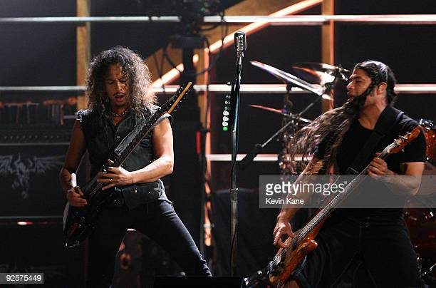 Kirk Hammett and Robert Trujillo of Metallica perform onstage at the 25th Anniversary Rock Roll Hall of Fame Concert at Madison Square Garden on...