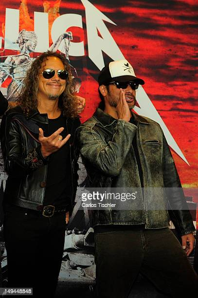 Kirk Hammett and Robert Trujillo of Metallica pose for the photo in the press conference Metallica the full arsenal during the world tour to mark the...