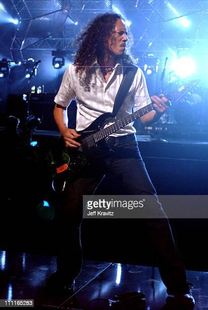 Kirk Hammett during MTV Icon Metallica Rehearsal Day2 at Universal Studios Stage 12 in Universal City CA United States