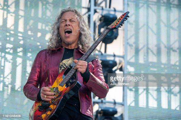 Kirk Hammett, lead guitarist of the heavy metal band Metallica, performs on July 09, 2019 at Ullevi Stadium in Gothenburg, Sweden.