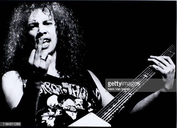 Kirk Hammett, Metallica, performing on stage, Groenoordhal, Leiden, Netherlands, 11th May 1988.