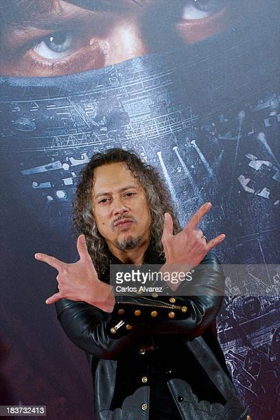"Kirk Hammett of Metallica attends the ""Metallica: Through The Never"" premiere at the Callao Cinema ME on October 9, 2013 in Madrid, Spain."