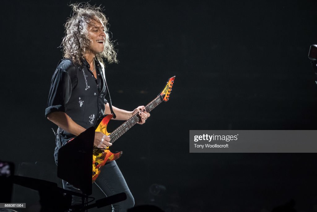 Kirk Hammett of Metallica perform live on stage at the Genting Arena on October 30, 2017 in Birmingham, England.