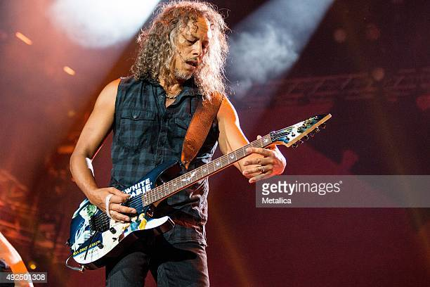 Kirk Hammett of Metallica performing at Bergenhus Fortress on August 20, 2015 in Bergen, Norway.