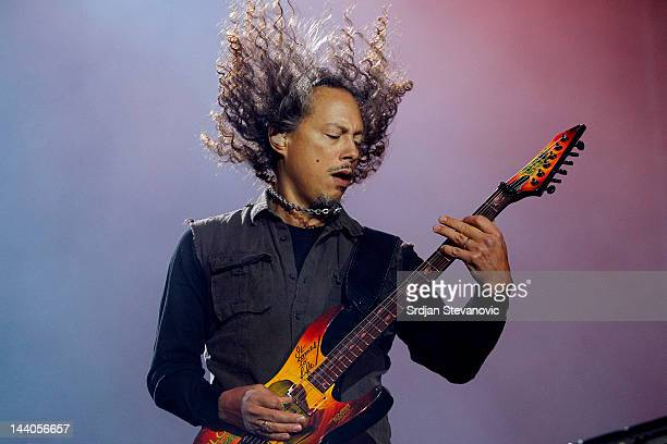 Kirk Hammett of Metallica performs during their 20th anniversary tour of the Black Album Usce Park on May 8 2012 in Belgrade Serbia