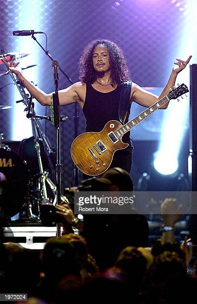 Kirk Hammett of Metallica performs on stage at the mtvICON Metallica tribute special held at the Universal Amphitheatre on May 3rd 2003 in Universal...