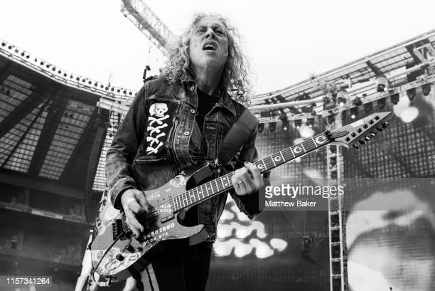 Kirk Hammett of Metallica performs on stage at Twickenham Stadium on June 20, 2019 in London, England.