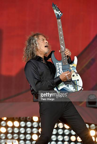 Kirk Hammett of Metallica performs onstage at the 2016 Global Citizen Festival In Central Park To End Extreme Poverty By 2030 at Central Park on...