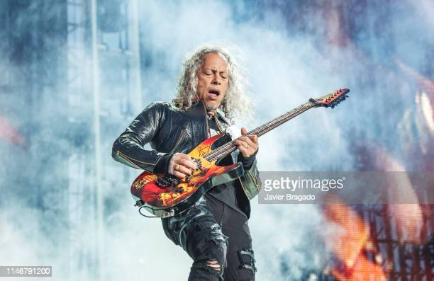 Kirk Hammett of Metallica performs onstage on May 03, 2019 in Madrid, Spain.