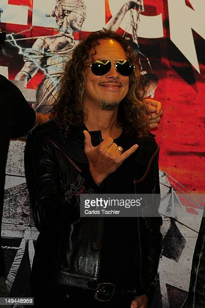 Kirk Hammett of Metallica poses for the photo in the press conference Metallica the full arsenal during the world tour to mark the celebration of the...
