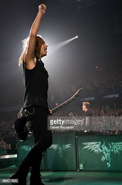 Kirk Hammett of rock band Metallica performs on stage at the Allstate Arena on January 26 2009 in Rosemont Illinois