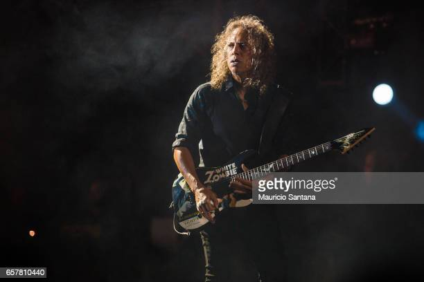 Kirk Hammett of the band Metallica performs live on stage at Autodromo de Interlagos on March 25, 2017 in Sao Paulo, Brazil.