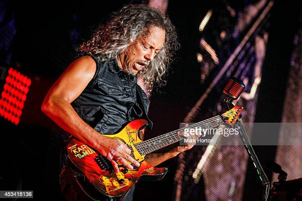 Kirk Hammett performs with Metallica on Day 1 of the Heavy Montreal Festival on August 9 2014 in Montreal Canada