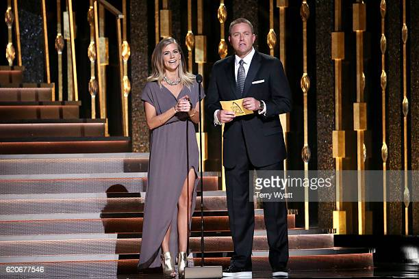 Kirk Herbstreit and Samantha Ponder speak onstage at the 50th annual CMA Awards at the Bridgestone Arena on November 2 2016 in Nashville Tennessee