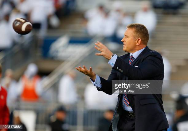 Kirk Herbstreit plays catch before the game between the Penn State Nittany Lions and the Ohio State Buckeyes on September 29 2018 at Beaver Stadium...