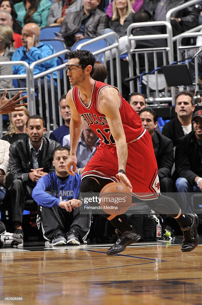 Kirk Hinrich #12 of the Chicago Bulls dribbles up the court against the Orlando Magic during the game on January 15, 2014 at Amway Center in Orlando, Florida.