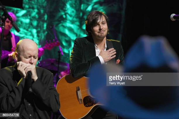 Kirk 'Jelly Roll' Johnson and Charlie Worsham perform onstage at the Country Music Hall of Fame and Museum Medallion Ceremony to celebrate 2017 hall...