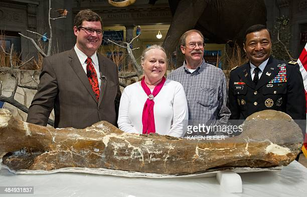 Kirk Johnson Sant director of the Smithsonian National Museum of Natural History poses with Montana ranchers Kathy and Tom Wankel Lt Gen Thomas...