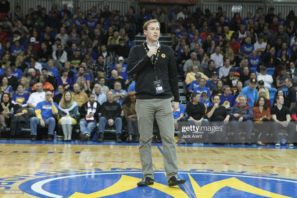 Kirk Lacob General Manager of the Santa Cruz Warriors addresses the fans prior to their game against the Bakersfield Jam on December 23, 2012 at Kaiser Permanente Arena in Santa Cruz, California.