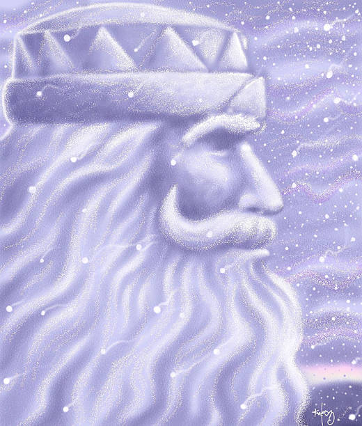 Kirk Lyttle color illustration of King Boreas who presides over St Paul Minn winter carnival Can be used with stories about winter Old Man Winter etc