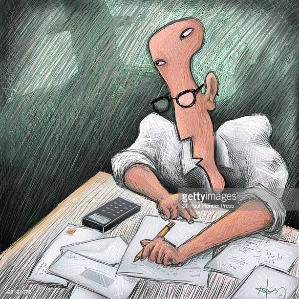 Kirk Lyttle color illustration of man preparing his taxes while he keeps an eye on shadowing figure in background